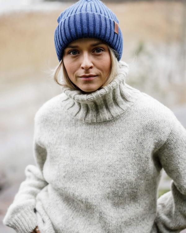 BEAM merino wool beanie denim blue