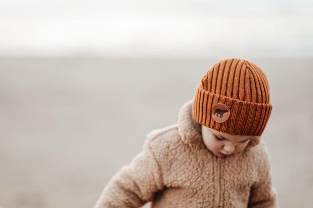 BJÖRN junior kids merino wool beanie in cognac