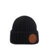 Superyellow black Kelo merino wool beanie
