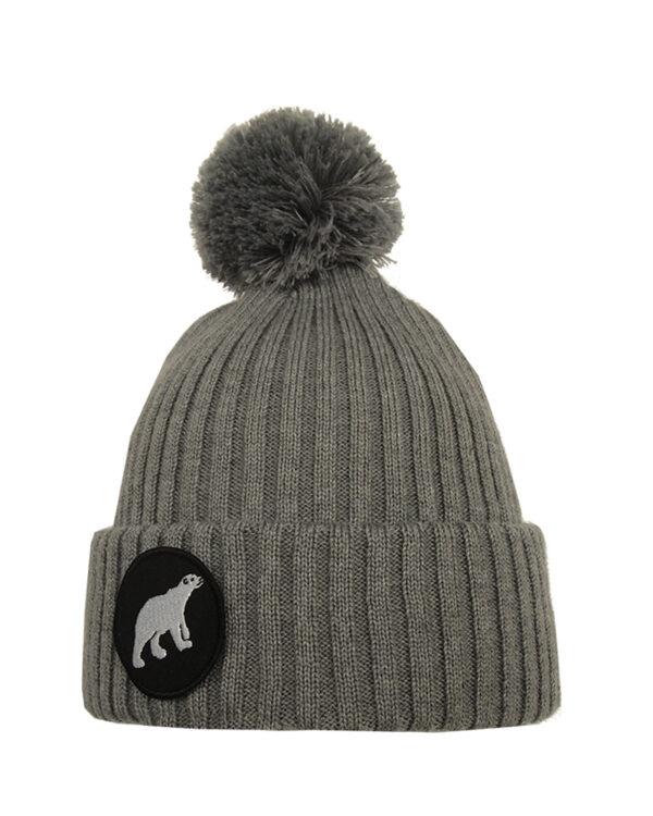 Superyellow light grey Polar pompom merino wool beanie