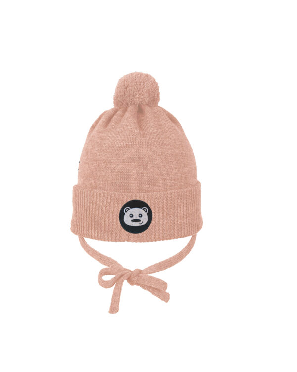 TEDDYBEAR baby beanie light pink merino wool organic cotton